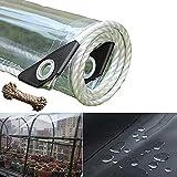 WaiMin Lona de plástico de PVC impermeable con ojales, lona a prueba de polvo, lona de plástico transparente, 0,35 mm/365 g/m² (tamaño: 1,8 x 3 m)