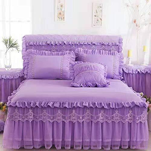 Jupe de lit Double Simple Couvre-lit en Dentelle literie Textile pour Chambre à Coucher Housse de lit Simple Peau Douce Drap matelassé (Color : D, Size : 150x200cm)