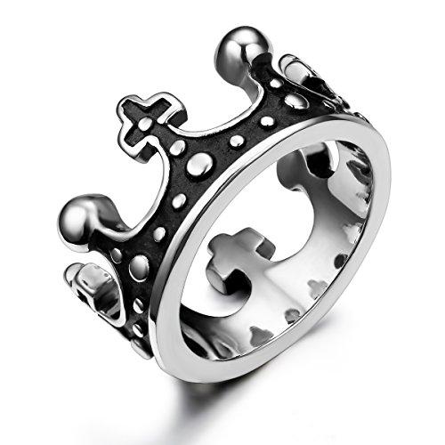 JewelryWe Joyería Vintage Anillo Unisex, Retro La Corona Imperial, Acero Inoxidable Gótico Anillo De Hombre Mujer, Color Plata Negro, Talla 14.5