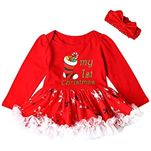 Cyond Girls Dresses Infant Toddler Baby Girls Dresses Christmas Lace Hat Tutu + Hairband Two-Piece Set Dress Outfit Clothes for 1-4 Years Baby Girl (Red, 3-6 Months)