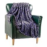 Flannel Blanket Fleece Throw Size Black Purple Zebra Animal Print All Season Lightweight Plush Cozy Super Soft Luxury Couch Sofa Bed Blanket (Purple Zebra Print, Throw 50x60)