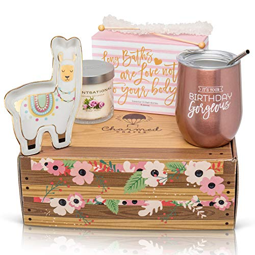 Happy Birthday Box for Women: Stainless Steel Tumbler, Bath Bomb Set, Scented...