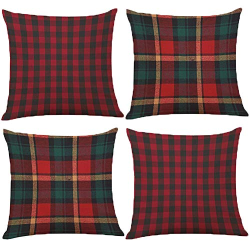 BCKAKQA Throw Pillow Case 18 x 18 inch Red Green Black Checked Cushion Covers 45cm x 45cm Set of 4 Soft Polyester Square Throw Pillow Covers for Living Room Sofa Couch Home Decor