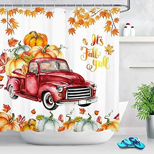 Bauernhaus LKW Kürbis Duschvorhang Herbstlaub Erntedankfest Für Badezimmer Wasserdichtes Polyestergewebe Mit Haken (B) 180×(H) 180CM