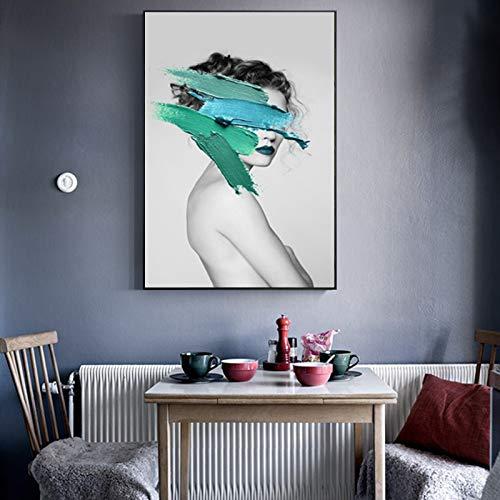 Geiqianjiumai Wandkunst abstraktes Bild Mode Frau malen gelb und blau grün Modell Moderne Heimat Leinwand Schönheit Dekoration Plakat rahmenlose Malerei 60x80cm