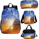 Juego de mochila para adolescentes de 15 pulgadas, Sunset Sky con vibrantes rayos escolares Set para trabajo, escuela, viajes, picnic