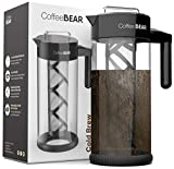 Cold Brew Coffee Maker By Coffee Bear - Protective No Slip Base - 1.3L / 44oz Heavy-Duty...