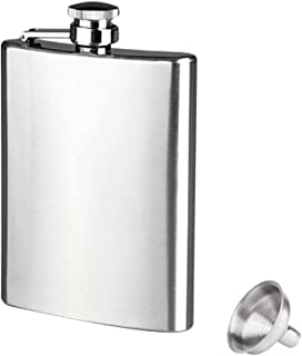Fan-Ling 8oz Stainless Steel Pocket Hip Flask Alcohol Whiskey Liquor Screw Cap&Funnel,Easy to Carry,Fashion, Men's Necessary