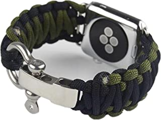 For Apple Watch Band Series 6 Nylon Rope Wrist Strap 44mm Umbrella Bracelet Green & Black