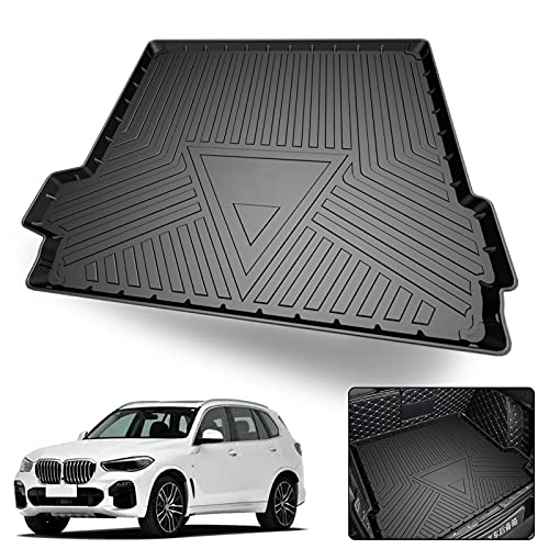 Elsetyler Cargo Liner for 2021 X5 - Black TPO All Weather Heavy Duty Waterproof Rear Cargo Tray Trunk Floor Mat Protector Compatible with 2019 2020 2021 BMW X5