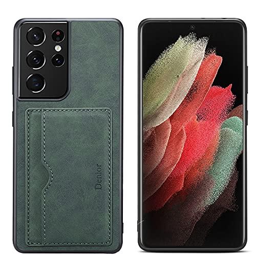 Funda Tipo Cartera para Samsung Galaxy S21/S21Plus/S21Ultra 5G : Tarjetero Slim Soporte Tipo Ranuras para Tarjetas de Crédito Cartera con Bolsillos Cuero a Prueba de Golpes,Green,S21