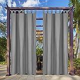 Clothink Outdoor Vorhang - B:132xH:275cm Grau - mit Steckverschluss Easy Hang on - Winddicht Wasserabweisend Sichtschutz Sonnenschutz