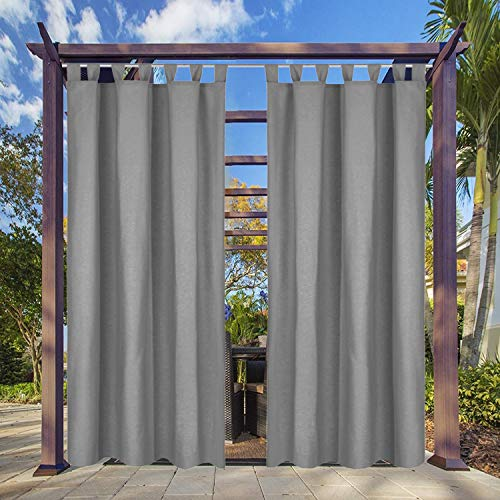 Clothink Outdoor Vorhang - B:132xH:245cm Grau - mit Steckverschluss Easy Hang on - Winddicht Wasserabweisend Sichtschutz Sonnenschutz