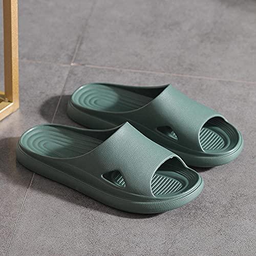 WUHUI Mujer Hombre Verano Interior Baño Zapatillas, Zapatillas de baño Mujeres Zapatos de Playa y Piscina, Zapatillas de Masaje Antideslizantes Transpirables silenciosas de Fondo Suave, Green_39-40