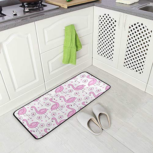 Mnsruu Küchenmatte Rosa Flamingo Küchenteppich 99 x 51 cm waschbar Küchenläufer Dekoläufer für Küche Flur Teppich Läufer