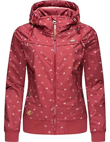 Ragwear Damen Übergangsjacke Regenjacke mit Abnehmbarer Kapuze Jotty Waterlily Rot Gr. XS