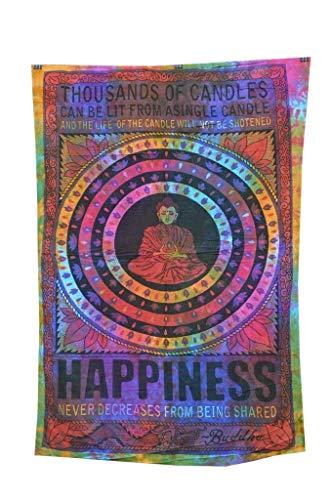 MY DREAM CARTS Tapiz de Tela de algodón para meditación y Buda de Loto, Ideal para Colgar en la Pared, diseño de Mandala Hippie