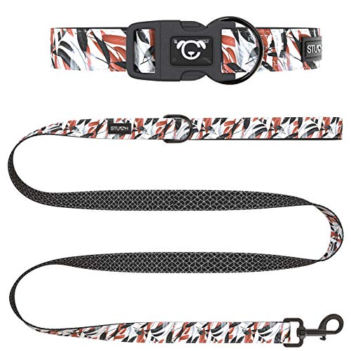 STUCH ® Hundeleine + Halsband Set - Duo Style - Verstellbares Hundehalsband aus Nylon - gepolsterte Handgriffe (M (32-46cm), Bunt (Blätter))