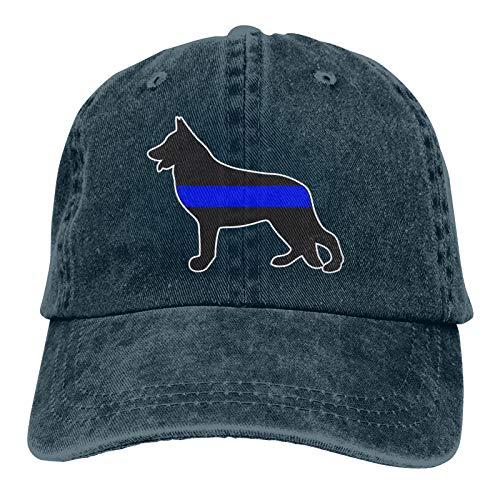 YLW49Y German Shepherd Thin Blue Line Police K9 Sports Denim Cap Adjustable Snapback Unisex Plain Baseball Cowboy Hat