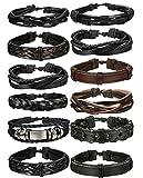 BESTEEL Schmuck 12 Stücke Leder Armbänder für Herren und Damen Armband Geflochten Länge Elastisch