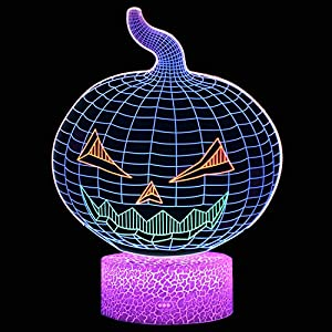 Pumpkin Night Light for Kids, XXMANX 3D Illusion Lamp Touch Control Dynamic Colors Changable with 3 Pattern Pumpkin Toys Halloween Gifts for Girls Boys Age 4 5 6 7 8 (Pumpkin)