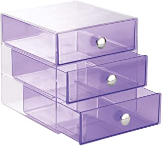 """iDesign 3 Drawer Storage Organizer for Cosmetics, Makeup, Beauty Products and Office Supplies, Purple,6.5"""" x 6.5"""" x 6.5"""""""