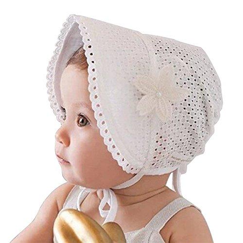 Cikuso Printemps Cap D'ete Doux Princesse Creux Bebe Filles Chapeau Dentelle-up Bonnet Coton Bonnet Enfant Enfants Fleur Beanie Dentelle Floral Cap (blanc)