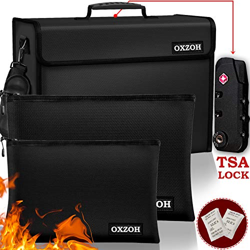 Fireproof Bag with Lock (TSA Approved) | Fireproof Document Bags XXXL Size (17 x 12 x 6 inch), A4 & A5 Size | Waterproof Fireproof Document Box | Firebox for Document Storage | Firebag Safe