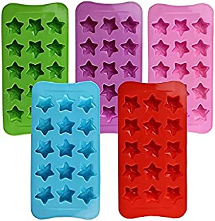 QWET Silicone Star Molds, Baking Pan with Star Shape Non-Stick Silicone Molds for Chocolate, Candy, Jelly, Ice Cube, Muffi...