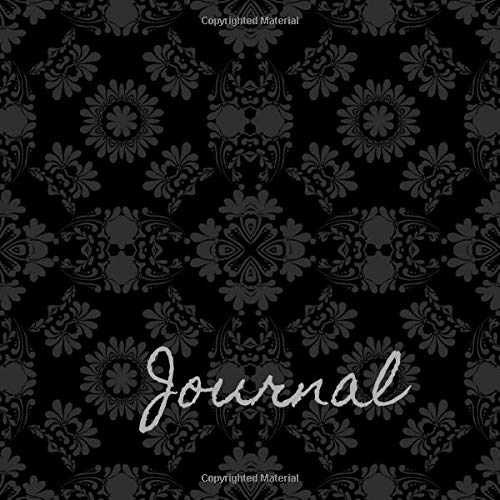 Journal: Black and Grey Damask Cover | Steampunk Interior Lined Undated | Square Format