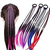 EROSPA® 4 Bunte Haarsträhnen mit Haargummi/Haarband - 40 cm - Haarteil Extension (Pink)
