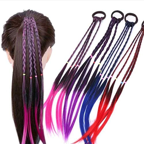 EROSPA® 4 Bunte Haarsträhnen mit Haargummi/Haarband - 40 cm - Haarteil Extension (Lila)
