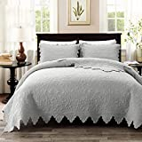 Brandream Luxury Farmhouse Bedding Quilt Set Grey King Size Quilted Bedspread Coverlet Set Cotton(98x106) with Standard Size Pillow Shams 3 Piece
