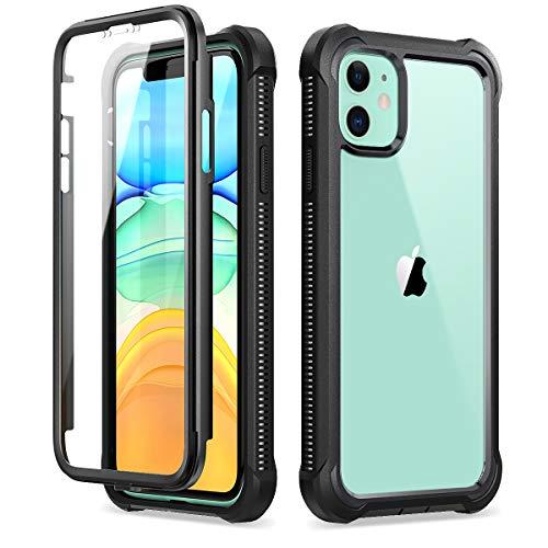 Dexnor Funda para iPhone 11 (6.1''), Carcasa con Parachoques de Silicona de 360 Grados, [A Prueba de Golpes] [Ligero] Panel Posterior Transparente, Protector de Pantalla Incorporado - Negro