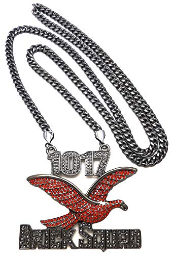 GWOOD Brick Squad Pendant with 36 Inch Necklace Red and Gun Metal