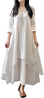 Theshy Women Casual Loose Long Sleeve Cotton Linen Boho Long Dress Party Maxi Dress with S-L