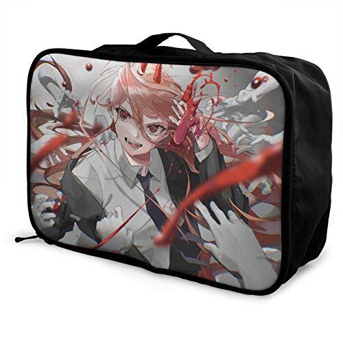 Bolsa de viaje para hombre de motosierra de anime, impermeable, ligera, de gran capacidad, portátil, bolsa de equipaje de fin de semana