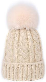 DELORESDKX Fur Pom Beanie Hat, Women Cashmere Blend Knit Cap Real Fox Fur Pompom Ears
