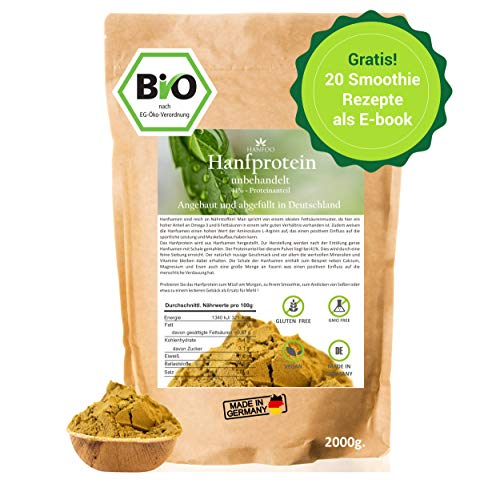 BIO Hanfprotein 2kg aus Deutschland + Gratis Smoothie E-Book (PDF), Vegan Protein aus Hanfsamen