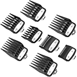 """YINKE Clipper Guards Premium for Wahl Clippers Trimmers with Metal Clip - 8 Cutting Lengths from 1/16""""to 1""""(1.5-25mm) Fits All Full Size Wahl Clippers (pack of 8) (black)"""