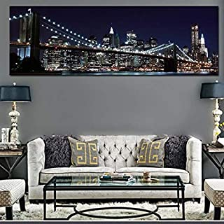 fumak Canvas Wall Art - New York Brooklyn Bridge Canvas Prints Painting Large Size Night View City Landscape Wall Art Picture for Living Room Wall Decor