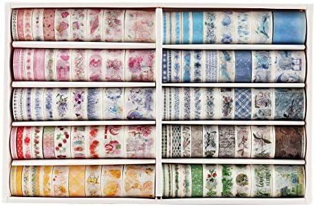 100 Rolls Washi Tape Set with 6 Sizes 5 8 10 15 20 30mm Wide Washi Masking Adhesive Decorative product image