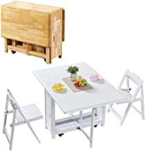 CHICAI 1.45M Butterfly 2-Chairs Set Dining Table Folding Drop Leaf Solid Wooden Kitchen Furniture Natural Pine