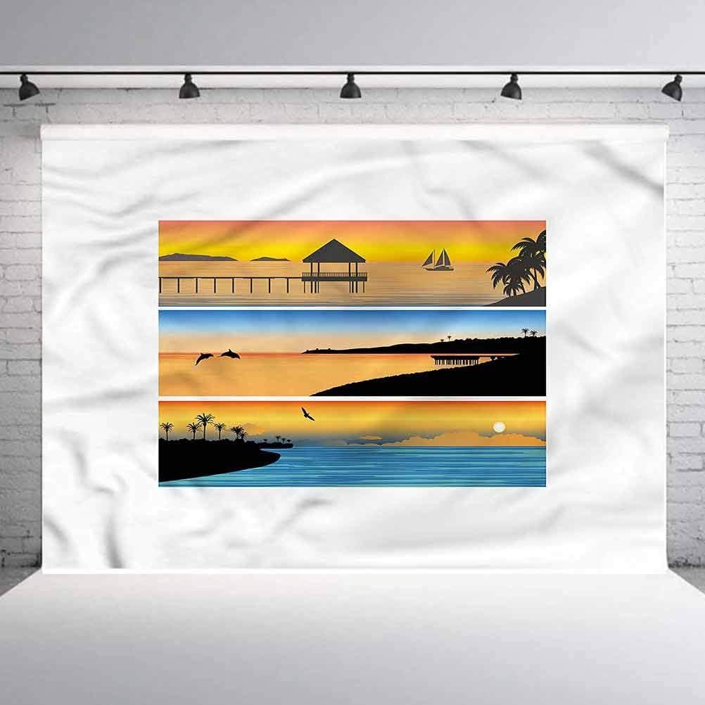 8x8FT Vinyl Backdrop Photographer,Island,Stunning Tropical Getaway Photo Backdrop Baby Newborn Photo Studio Props