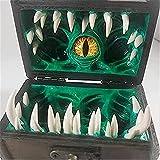 Bjwvlt Cofre Legendario de Dados mímicos, contenedor con Capacidad para 8 Dados Individuales, Juegos de Mesa, decoración de Escritorio, Juego de Roles, se Adapta a la decoración(Green)