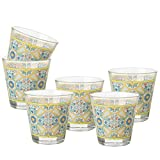 MONTEMAGGI Set 6 bicchieri acqua Decoro Colorato Stampato Ortigia in vetro MADE IN ITALY Capienza 25 Cl.
