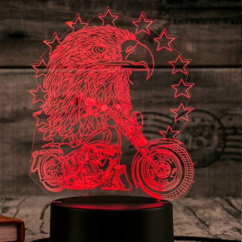 Tissen 3D owl Eagle Night Light 7 Colors Mood Light Touch Switch USB Table Desk LED Light Christmas Present Kids Home Party Birthday Gift