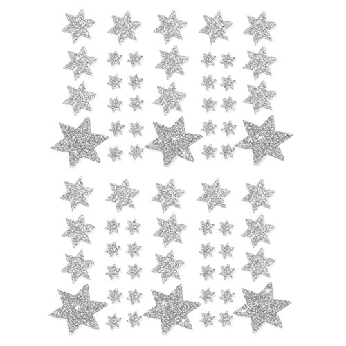 Oblique-Unique® Weihnachts Sterne Sticker Aufkleber - Deko Weihnachten - Farbe wählbar (Silber)
