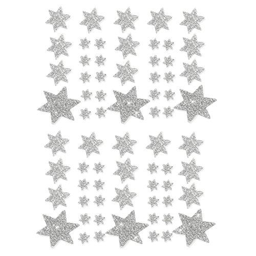 Oblique-Unique® Weihnachts Sterne Sticker Aufkleber - Deko Weinachten - Farbe wählbar (Silber)