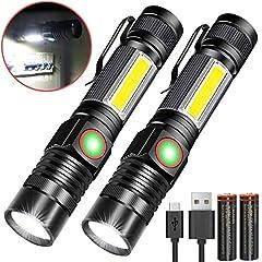 Karrong LED Zaklamp Magnet USB oplaadbaar (inclusief 18650 batterij) COB werklamp met 4 modi Waterproof Zoom Extreme Bright Zaklampen voor Outdoor Camping Emergency (2 stuks)*